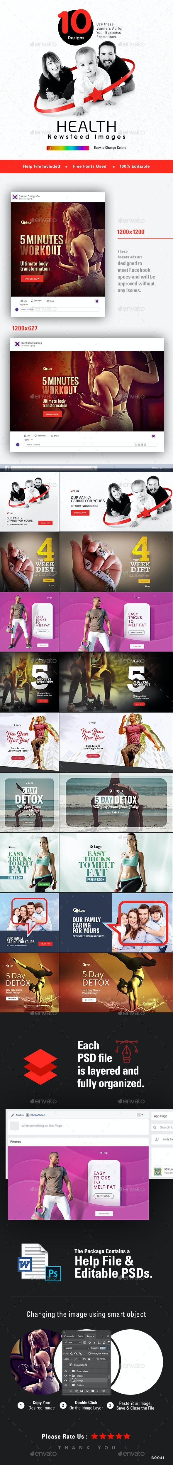 Health Social Media Banner Set - 10 Designs  - 20 Banners - Miscellaneous Social Media
