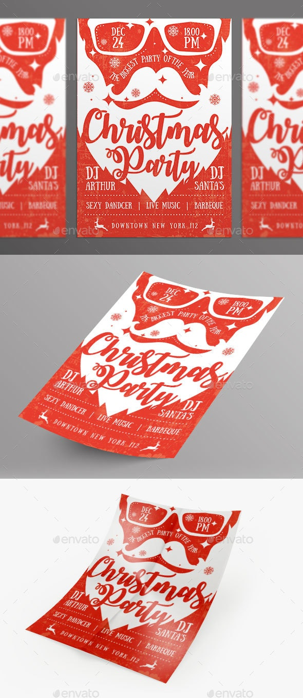 Cool Christmas Party Flyer - Red and White Santa Design