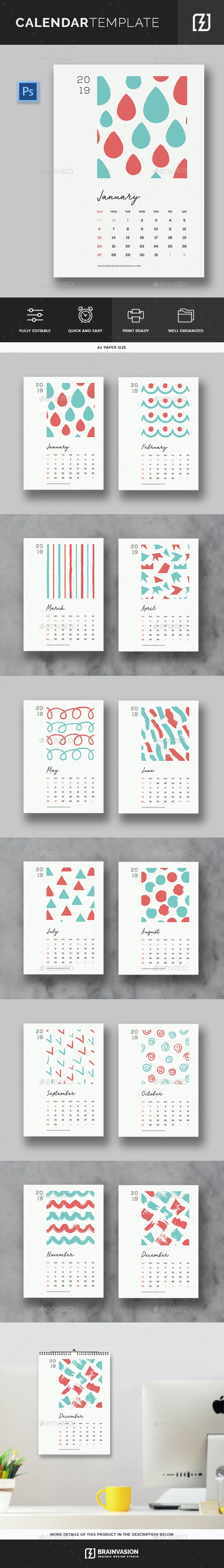 2019 Calendar Template - Calendars Stationery