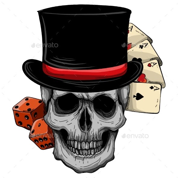 Vector Skull with Top Hat and Casino Game