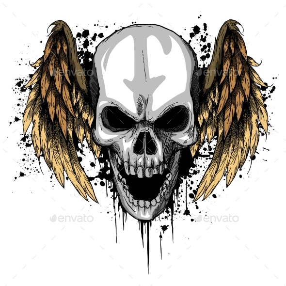 a Human Skull with Wings Vector Illustration - Miscellaneous Vectors