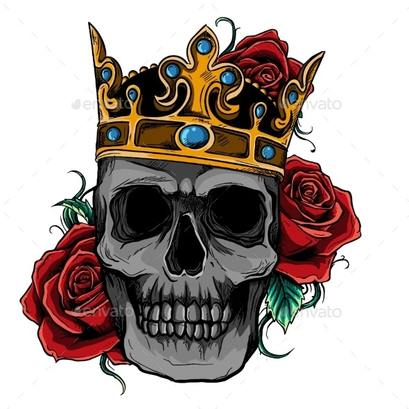 Vector Illustration Skull Wearing a King Crown - Miscellaneous Vectors