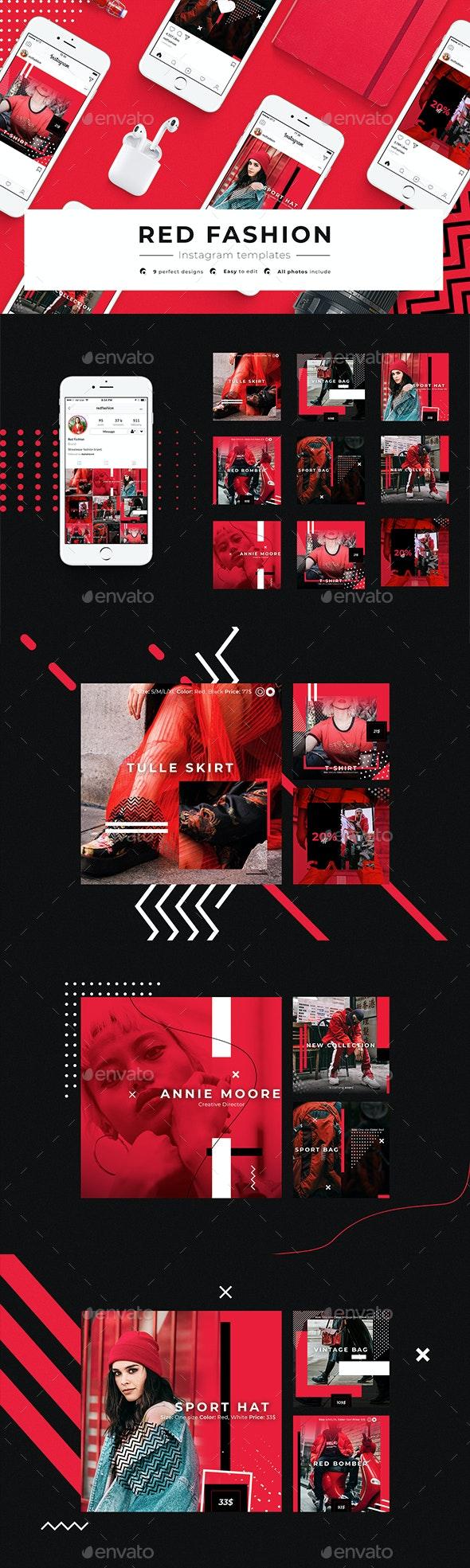 Red Fashion — Instagram Templates - Social Media Web Elements