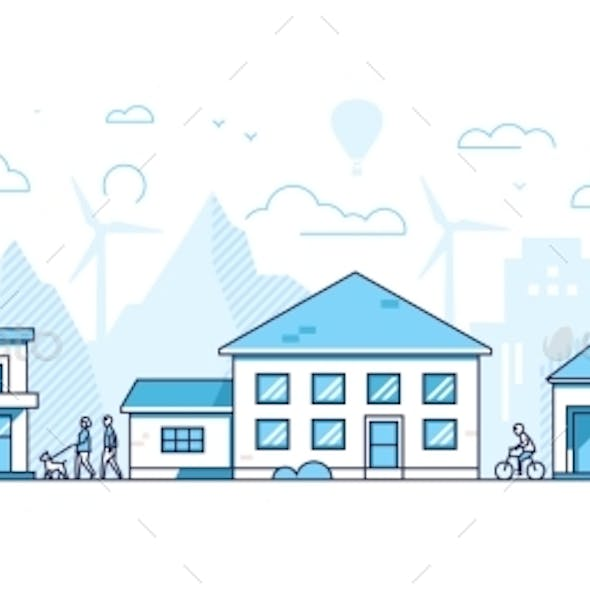 Town Life - Modern Thin Line Design Style Vector