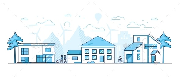 Town Life - Modern Thin Line Design Style Vector - Buildings Objects