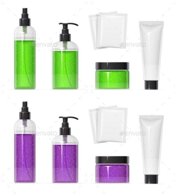 Set of Plastic Containers for Cream Spray - Man-made Objects Objects