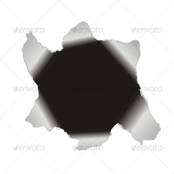 Large hole in the white paper. Vector background