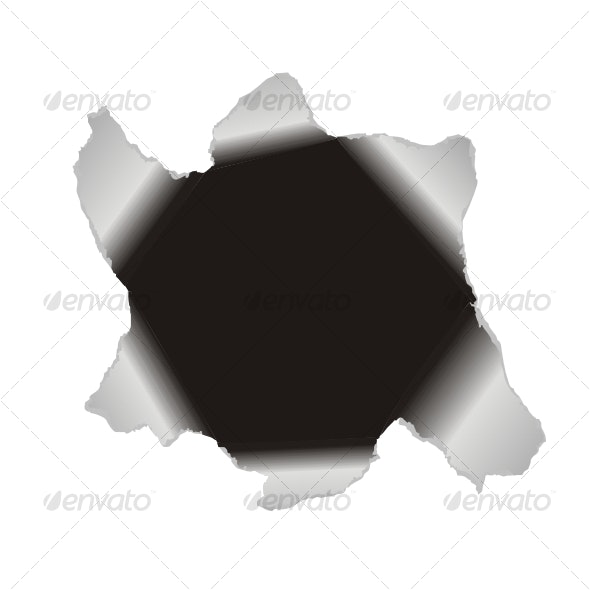 Large hole in the white paper. Vector background - Decorative Symbols Decorative