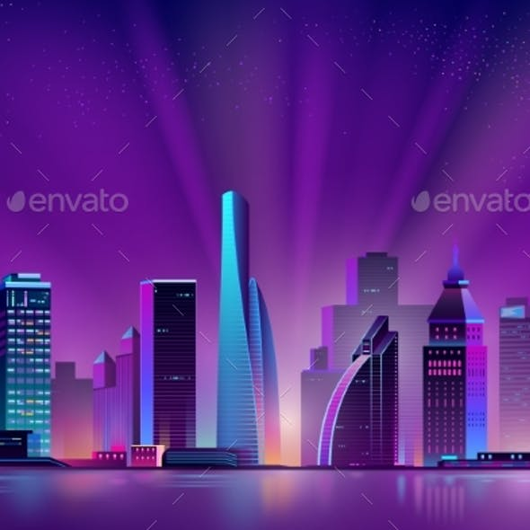 Vector Neon Megalopolis Background with Shining Sun