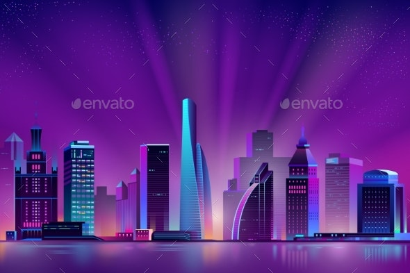 Vector Neon Megalopolis Background with Shining Sun - Buildings Objects