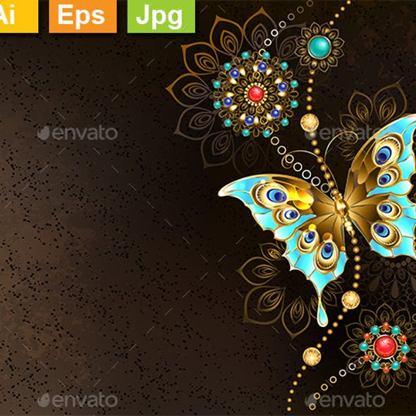 Brown Background with Turquoise Butterfly