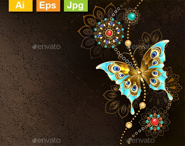 Brown Background with Turquoise Butterfly - Backgrounds Decorative