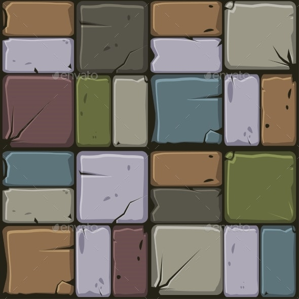 Texture of Colored Stone Tiles Seamless - Backgrounds Decorative