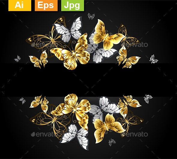 Design with Gold and White Butterflies - Backgrounds Decorative