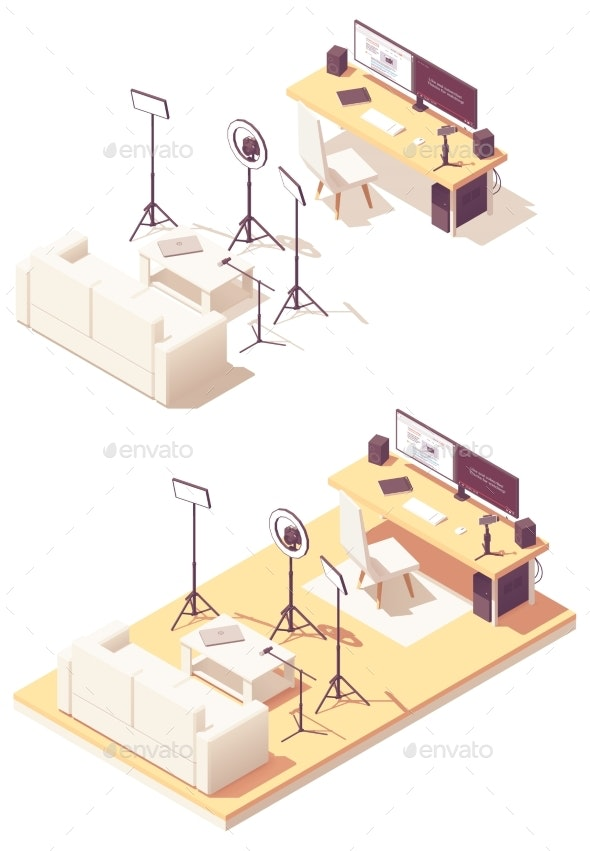 Vector Isometric Video Blogger Studio Equipment - Computers Technology