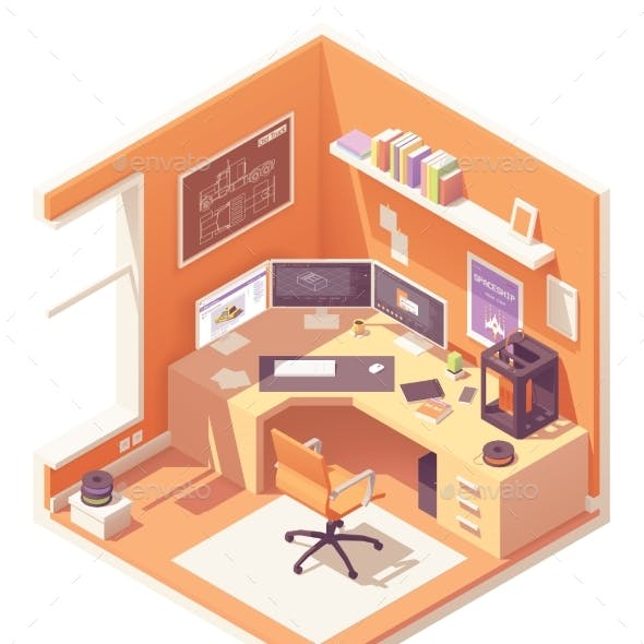 Vector Isometric Artist Workplace