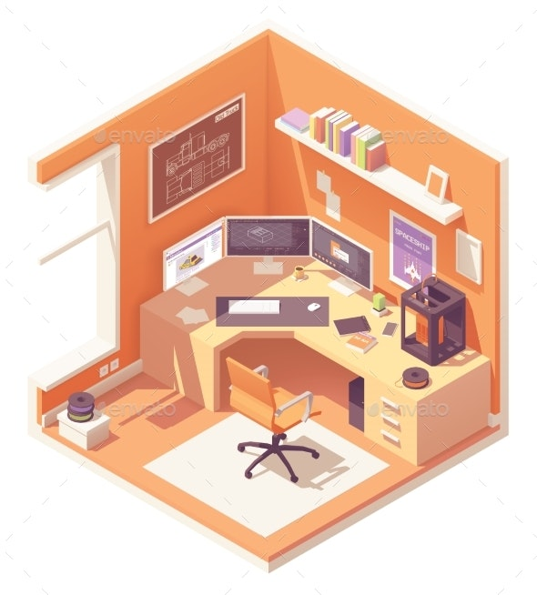 Vector Isometric Artist Workplace - Man-made Objects Objects