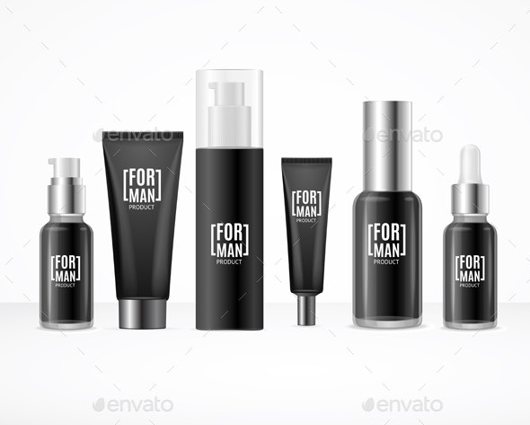 Realistic Detailed Black Blank Cosmetic Bottles - Man-made Objects Objects