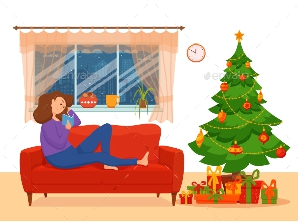 Young Woman Reading Book Sitting on Armchair - Miscellaneous Vectors
