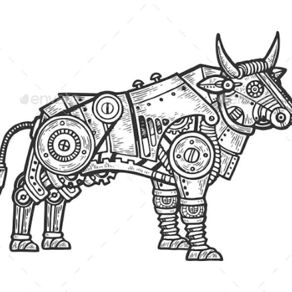 Mechanical Bull Animal Engraving Vector