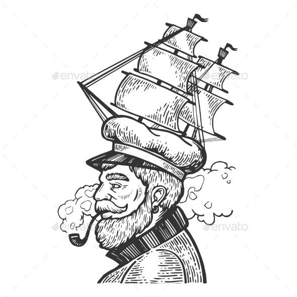 Captain with Sailing Ship Cap Vector Illustration - Miscellaneous Vectors