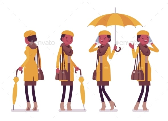 Stylish Young Black Woman with Umbrella, Wearing - People Characters