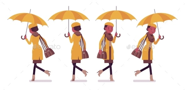 Black Woman with Umbrella Walking, Running - People Characters
