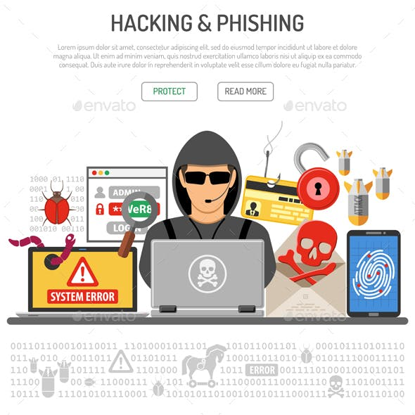Cyber Crime Hacking and Phishing Concept