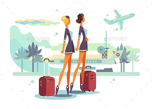 Charming Stewardess with Suitcases - Travel Conceptual