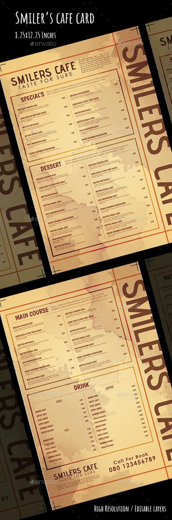 Cafe Menu Card - Food Menus Print Templates