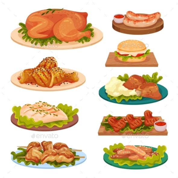 Collection of Tasty Poultry Dishes, Fried Chicken
