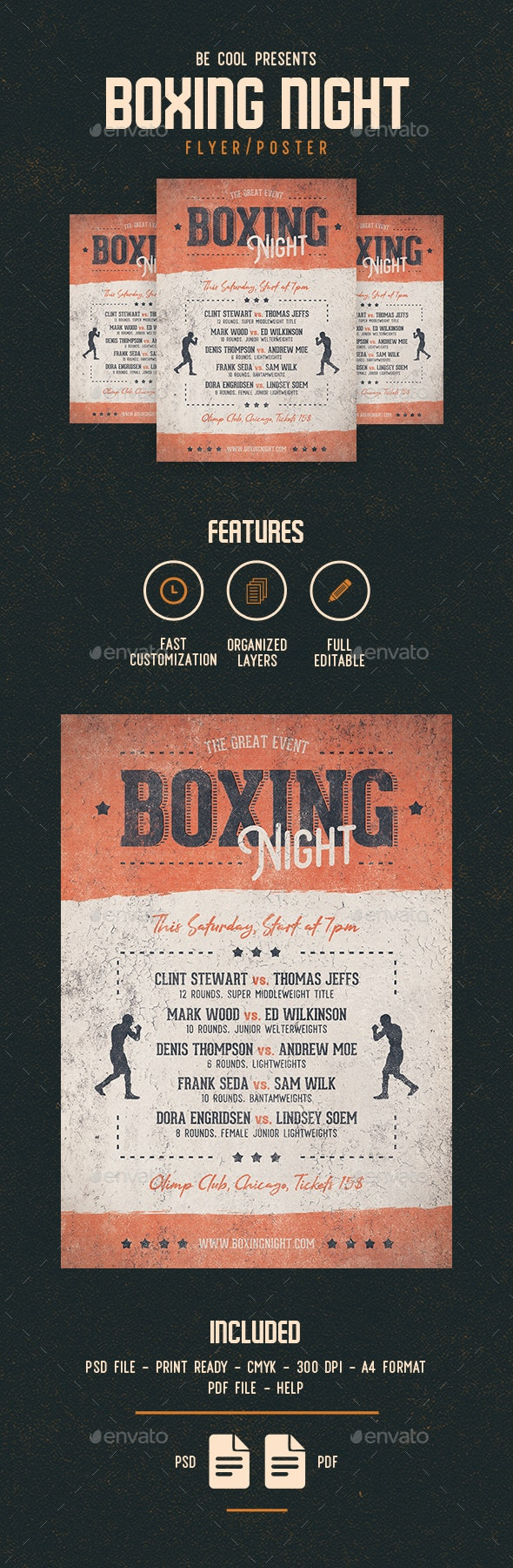 Boxing Night Flyer/Poster - Sports Events