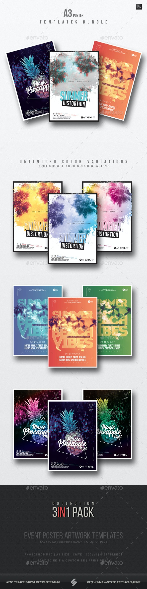 Summer Beach 3 - Party Flyer / Poster Templates Bundle - Clubs & Parties Events