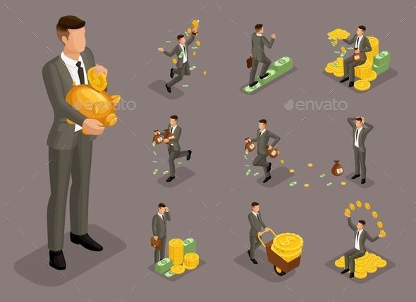Isometric Businessmen in Different Situations - Concepts Business