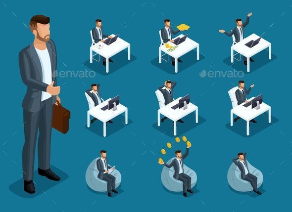 Isometric 3d Businessmen in Different Situations - Concepts Business