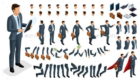 Isometric Set for Creating Characters - People Characters