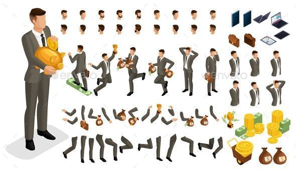 Isometric Set for Creating Characters - Miscellaneous Vectors
