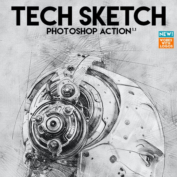 Tech Sketch Photoshop Action