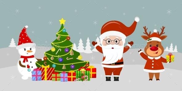 Santa Claus Stands on Christmas Background - Christmas Seasons/Holidays