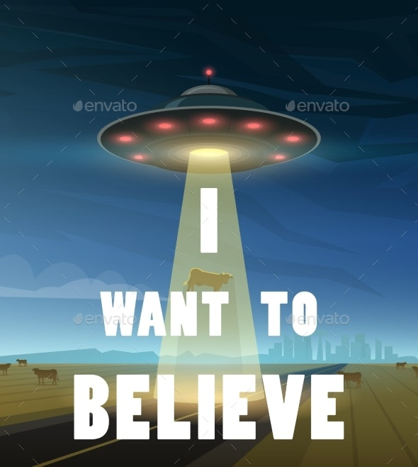UFO or Flying Saucer in Space - Miscellaneous Vectors