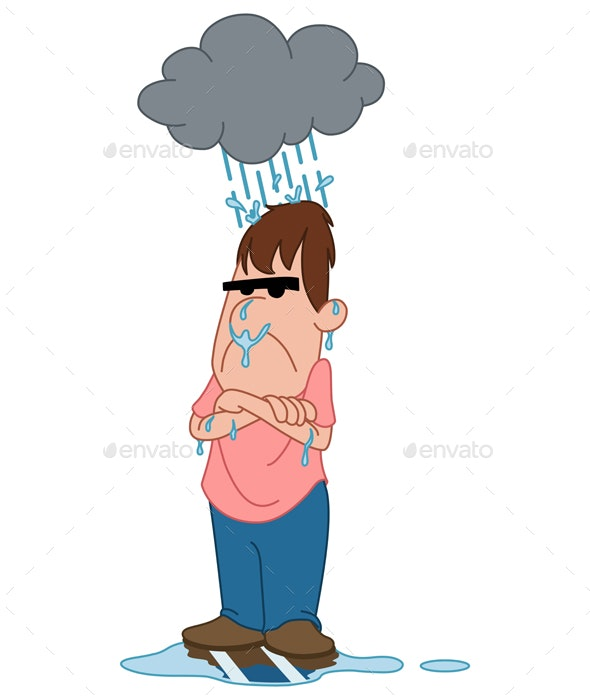 Depressed Angry Man Under Raincloud - People Characters