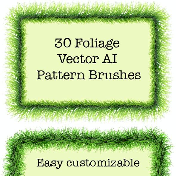 30 Green Foliage Brushes - Vector Adobe Illustrator Pattern Plant Brushes