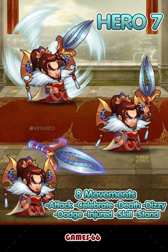 Hero 7 Sprite Set - Sprites Game Assets