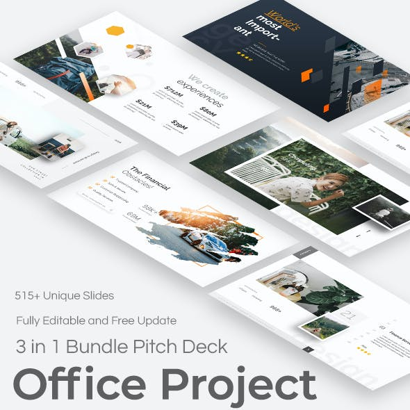 Office Project 3 in 1 Pitch Deck Keynote Bundle Template