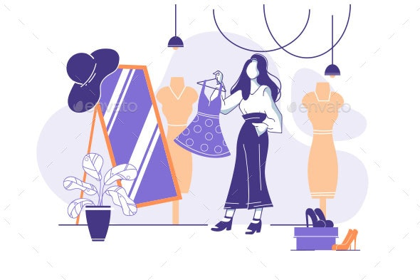 Flat Young Woman Trying on Clothes - Man-made Objects Objects