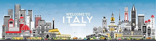 Welcome to Italy Skyline with Gray Buildings and Blue Sky - Buildings Objects