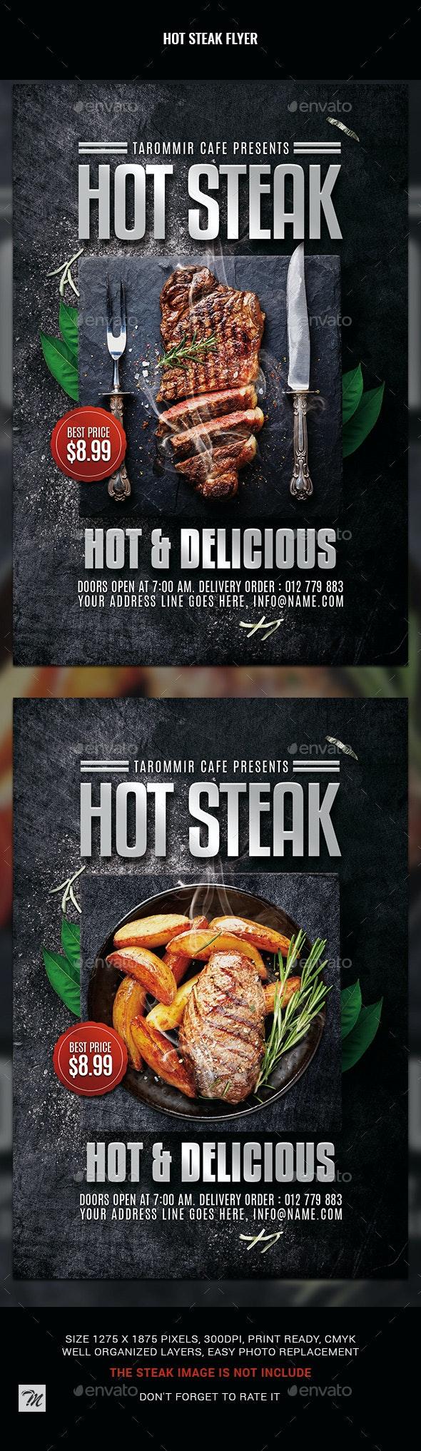 Hot Steak Flyer - Restaurant Flyers