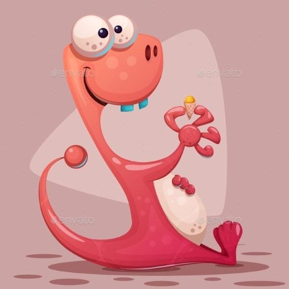Dinosaur with Ice Cream - Miscellaneous Vectors
