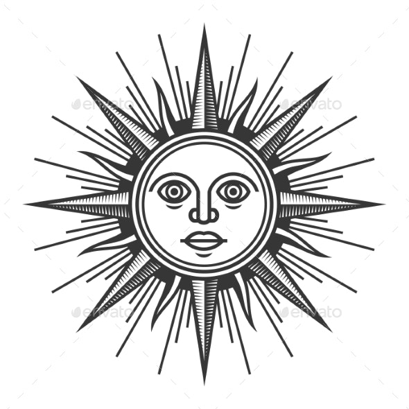 Antique Sun Face Icon on White Background - Miscellaneous Characters