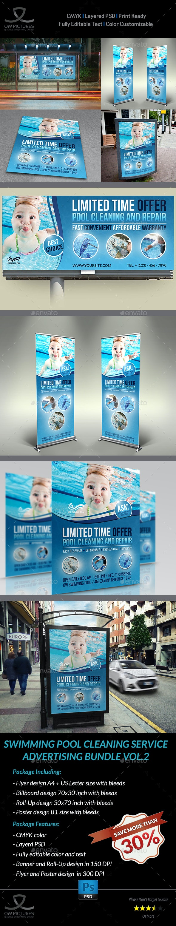 Swimming Pool Cleaning Service Advertising Bundle Vol.2 - Signage Print Templates